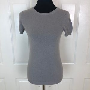 J. Crew Women's Gray 100% Cashmere Short Sleeve
